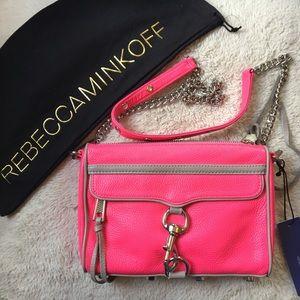 Rebecca Minkoff Mini Mac Neon Pink/Strom Grey